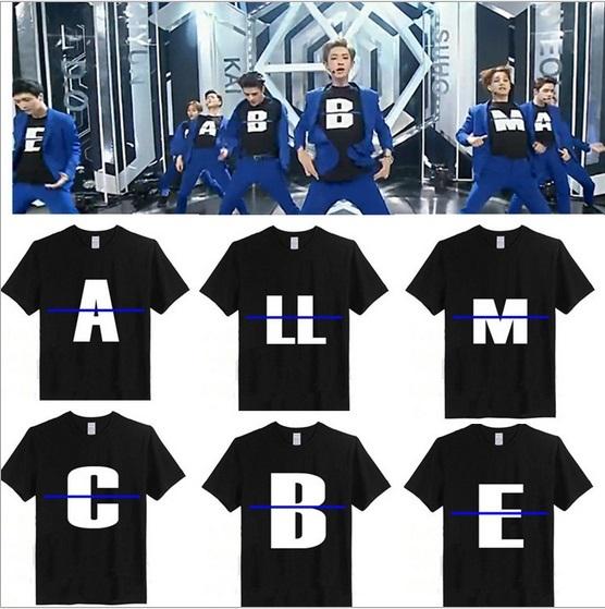 Мужская футболка EXO kpop 100% EXO t 2015 мужская футболка kpop exo baekhyun chanyeol t camiseta