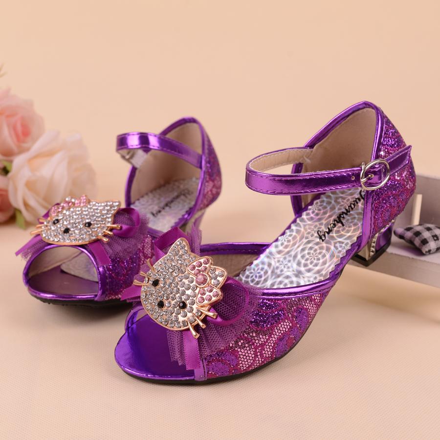 2015 New summer children shoes sandals girls hello kitty shoes kids girls sandals princess shoes high heel girls dancing shoes(China (Mainland))