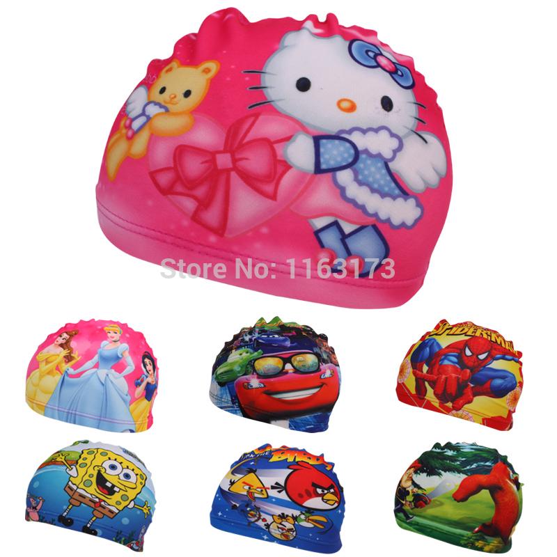 2015 New Cartoon Best Kids Swimming hat Swim caps hats Children swimming caps cute cartoon baby boys&girls bathing cap(China (Mainland))