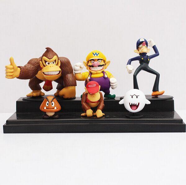 DHL 50sets Super Mario Bros Donkey kong Wario Waluigi Goomba Dixie Kong PVC Figure Toys Wholesale(China (Mainland))