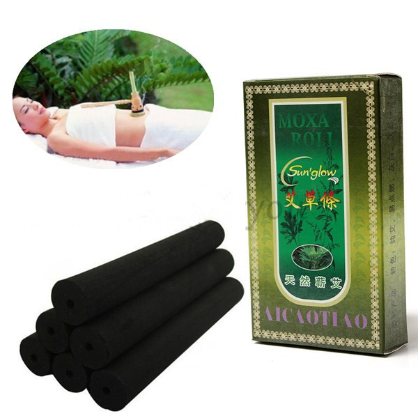 10Pieces/Pack 12cm Black Hollow Smokeless Pure Moxa Roll Stick for Moxibustion Mild Healing Therapy(China (Mainland))