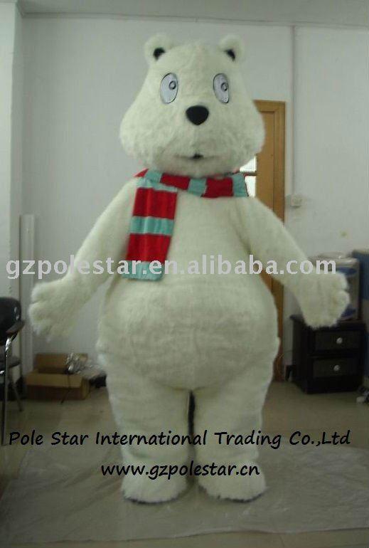 fluffy white bear mascot costumes(China (Mainland))