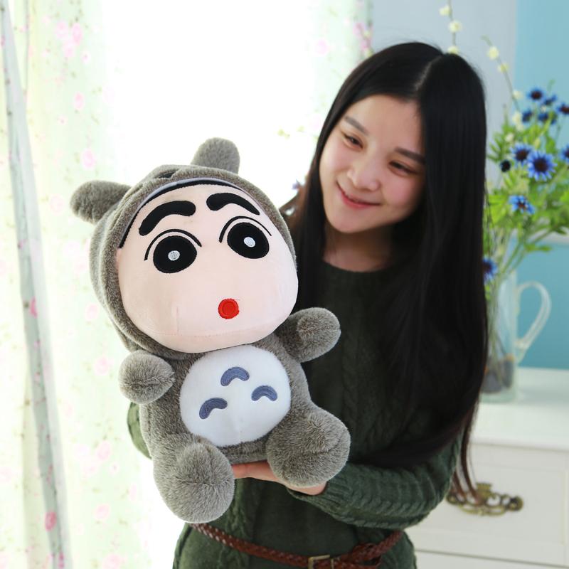 2015 New Crayon Shin-chan Cos Neighbor Totoro, Pokonyan, Pikachu Stuffed Plush Doll Toys With Hat, Cap 35cm one piece(China (Mainland))