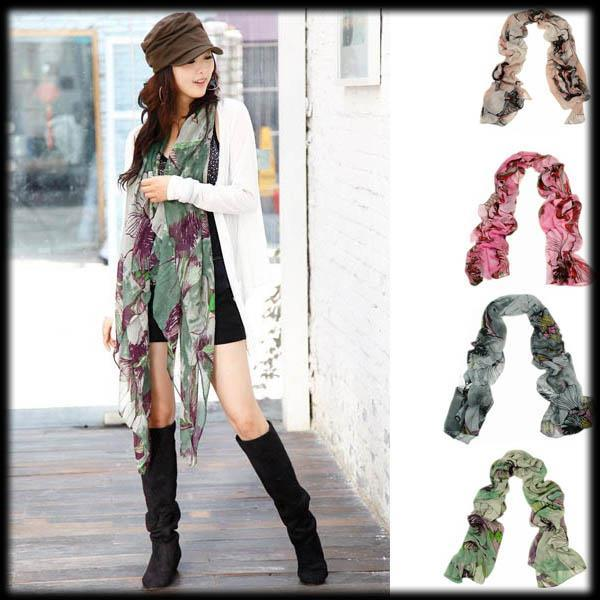 50% shipping fee 100 pieces Fashion Begonia flower ink style Scarfs ,6 colours(China (Mainland))