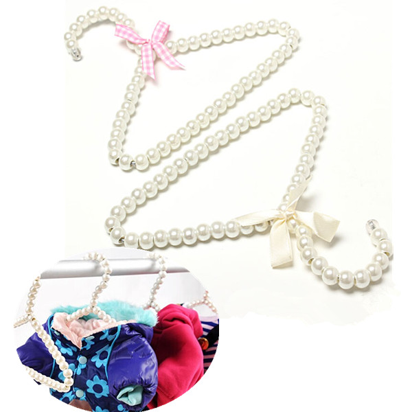 1PCS/LOT Wholesale Plastic Pearl Bow Clothes Hangers & Racks For Kid Baby Children Fashion Clothing Store Supplies(China (Mainland))