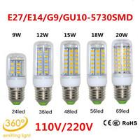 10pcs/lot E27 110V 9W 12W 15W 18W 20W 24/36/48/56/69LEDs SMD 5730 LED lamp Ultra Bright LED Corn Bulb light Chandelier