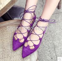 2015 new Summer women sandals Gladiator Cross-tied Flats Sharp Toe flat sandals hollow boots 2 colors size 35-39