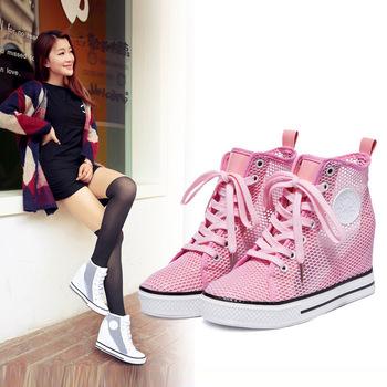 2015 мода женские туфли на высоком каблуке платформа кроссовки холст обувь полые ...