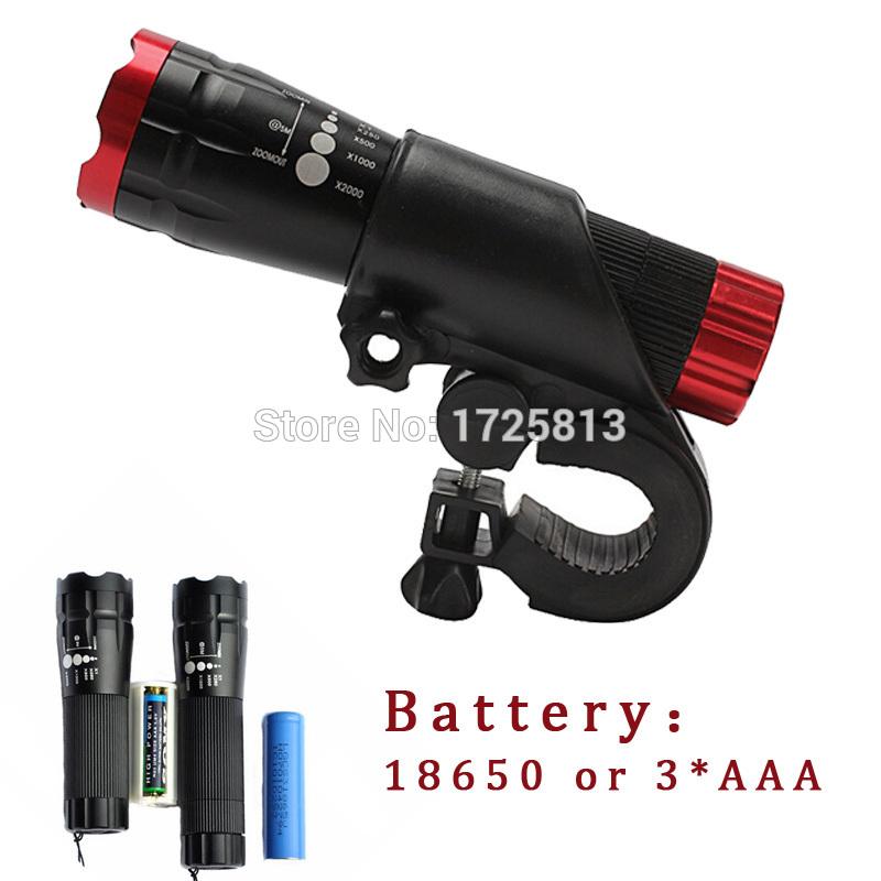 New Bicycle Light 7 Watt 2000 Lumens 3 Mode CREE Q5 LED Bike Light Front Torch Waterproof + Torch Holder Support 18650 Battery(China (Mainland))