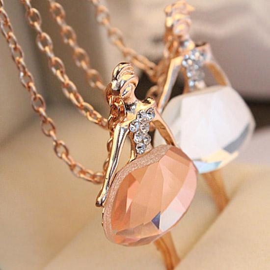 Fashion Necklaces For Women 2015 Crystal 18K Gold Ballet Dance Girl Angel Dancer dancing Pendant Necklace(China (Mainland))