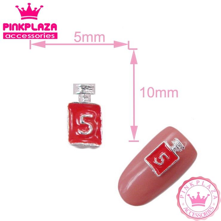 HOT fashion20pcs Nail Art 5*10mm No.5 perfume bottle with red paint Silver Zinc Alloy Nail polish Grade A Free shipping 343(China (Mainland))