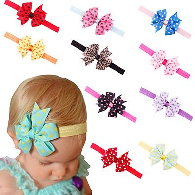 Baby Headband Girl Toddler Flower Bowknot Dots Hair Band 10 Colors Hair Accessories(China (Mainland))