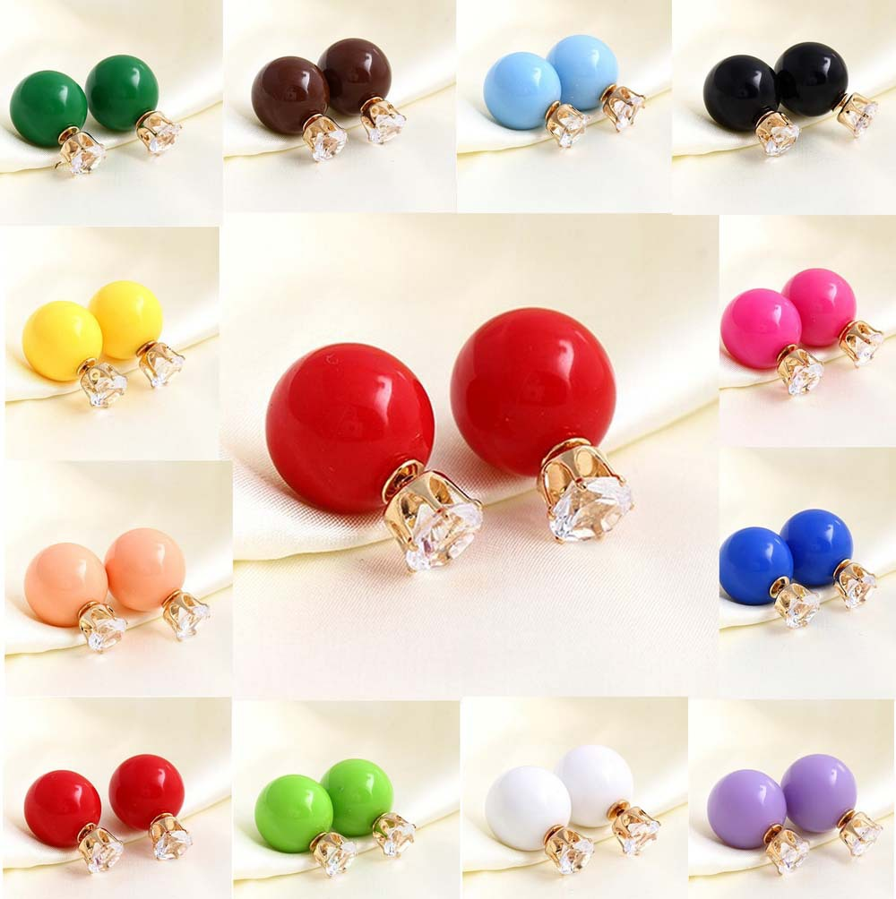 Trendy Lovely Candy Color Pearl Crystal Ball Double Side Studs Earrings 12 Colors