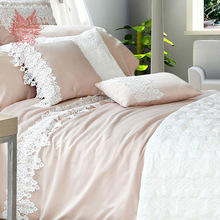 Home textile French Twin tribute silk bedding sets cotton/silk princess lace duvet cover Bed sheet Pillowcase 6pcs/set SP1486(China (Mainland))