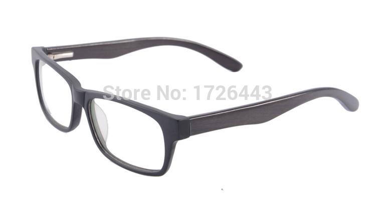 Men Optical Glasses Frame Branded Black Acetate Mirror Eyeglass Wood Temple 2015 New Arrival(China (Mainland))