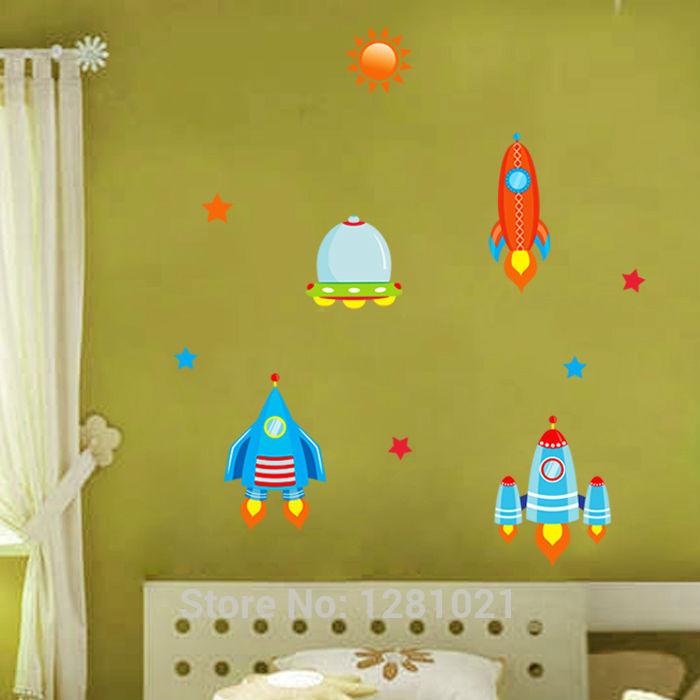 Adesivo De Parede kids Wonderful Stars Space Rockets Wall Stickers(China (Mainland))