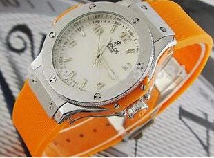 Orange rubber belt date wristwatches Fashion new Quartz women watch Luxury sports Woen's Watches(China (Mainland))