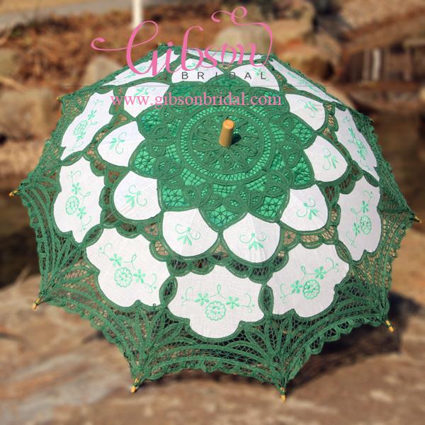 Free Shipping 100% Handicraft Cotton Green Lace Umbrella Wedding Parasol Bridal Parasol(China (Mainland))