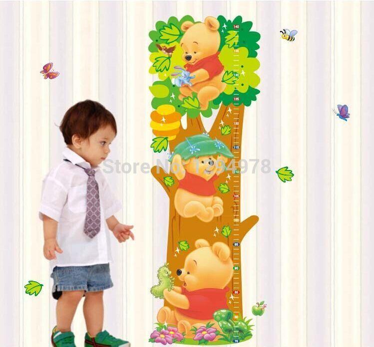 Cartoon Winnie the Pooh Animal Measurement of height DIY Wall Stickers Nursery Kids Room Home Decor Mural Decal LM2001(China (Mainland))