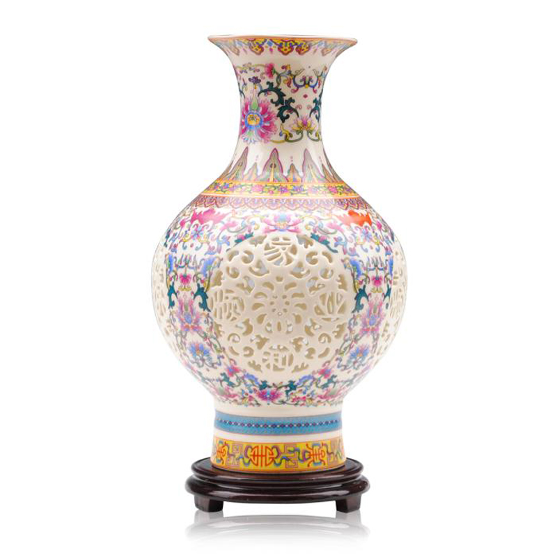 Jingdezhen Home Decoration Modern Vases For Living Room High Grade Beautifully Hollow Ceramic Chinese Vase Crafts(China (Mainland))