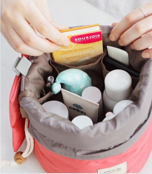 High quality fashion casual Barrel Shaped Travel make up Cosmetic Bag case set High Capacity Drawstring Elegant Drum Wash Bags(China (Mainland))