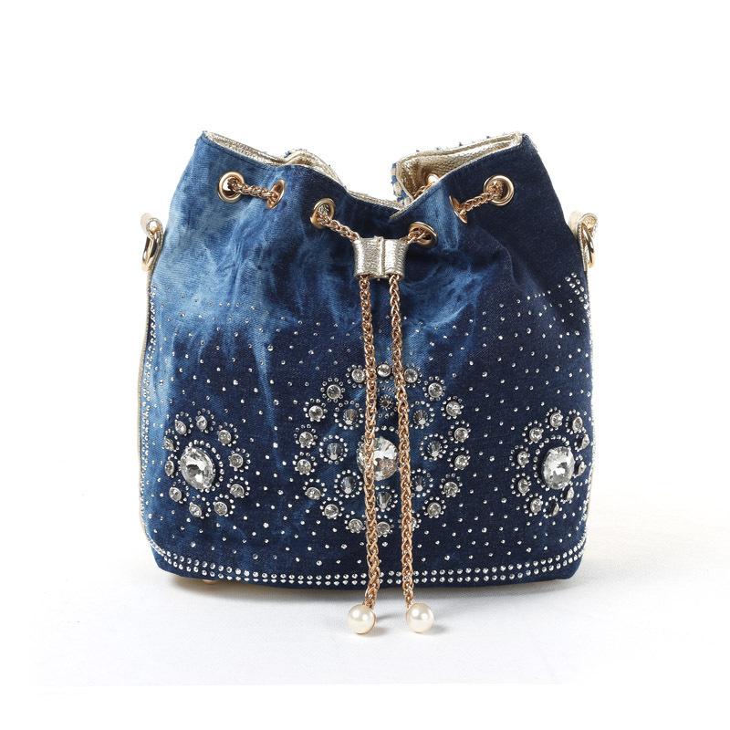 Demin+PU leather diamante ladies bucket shoulder bags female handbag women messenger bag bolsa feminina bolsos mujeres MAGIC 196(China (Mainland))
