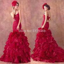 Rhinestones Bandage Elie Saab Vestido De Novia New Sweetheart Sexy Ruffle Mermaid Red Wedding Dresses 2015