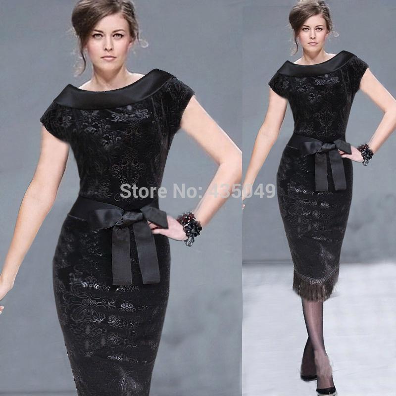 Woman dress mid calf top fashion velour Lace Tassel black Screen Print flower slash neck short sleeve vintage lady dress,C05(China (Mainland))