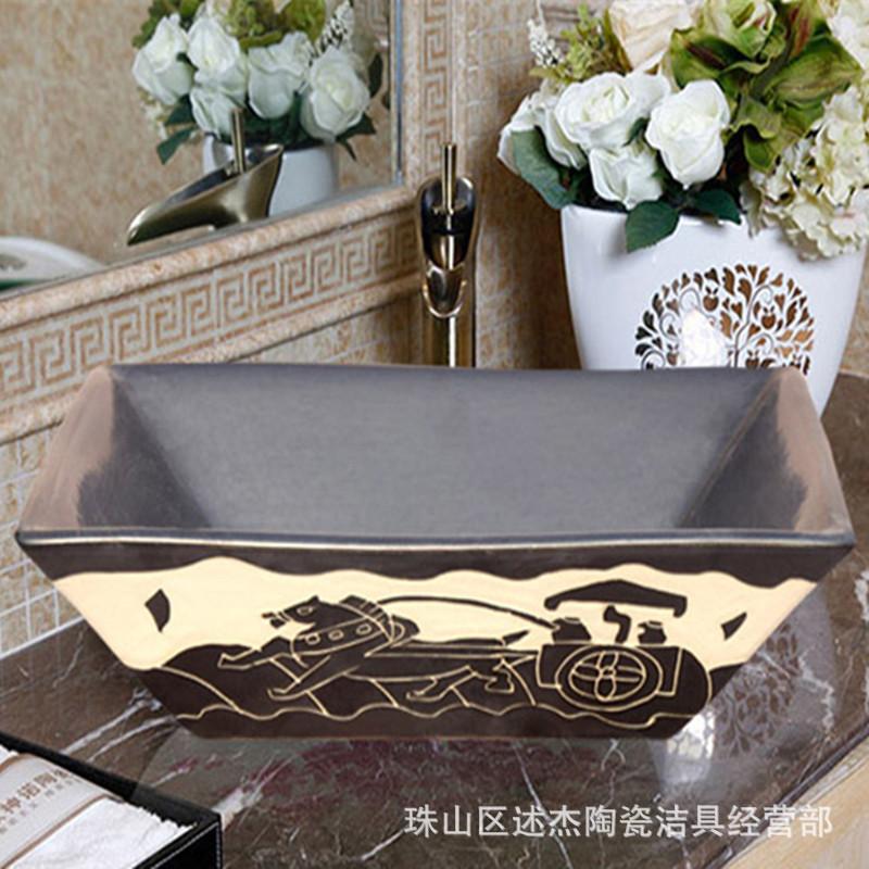 Factory outlets] Jingdezhen Ceramic Art wash basin above the stage coach Jay rectangular bathroom washbasins(China (Mainland))