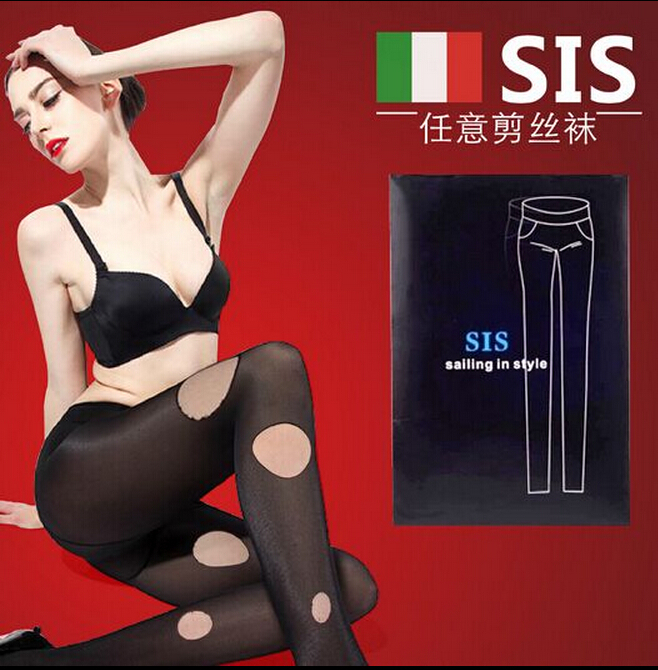 Sis Tight hot sales Retro Black Women's stockings thin backing Women's Tights very sexy can be DIY design Pattern Plus size(China (Mainland))