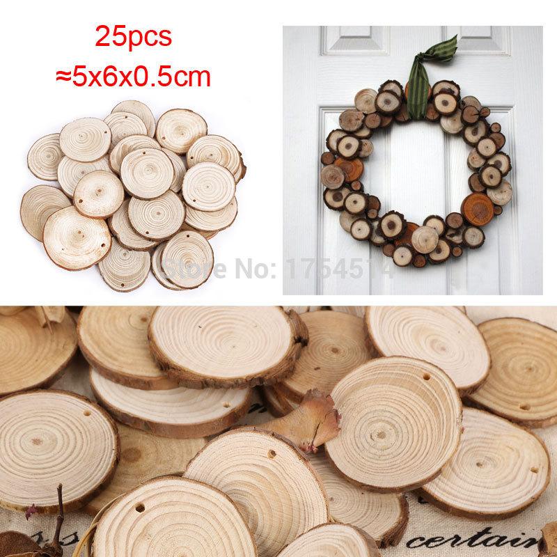 25 Round Wooden Wood Log Slice Natural Tree Bark Table Decor Wedding Centerpiece(China (Mainland))
