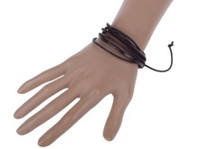 Fashion Jewelry Wrap multilayer Leather Braided Rope Wristband men Love bracelets & bangles 2 color free shipping