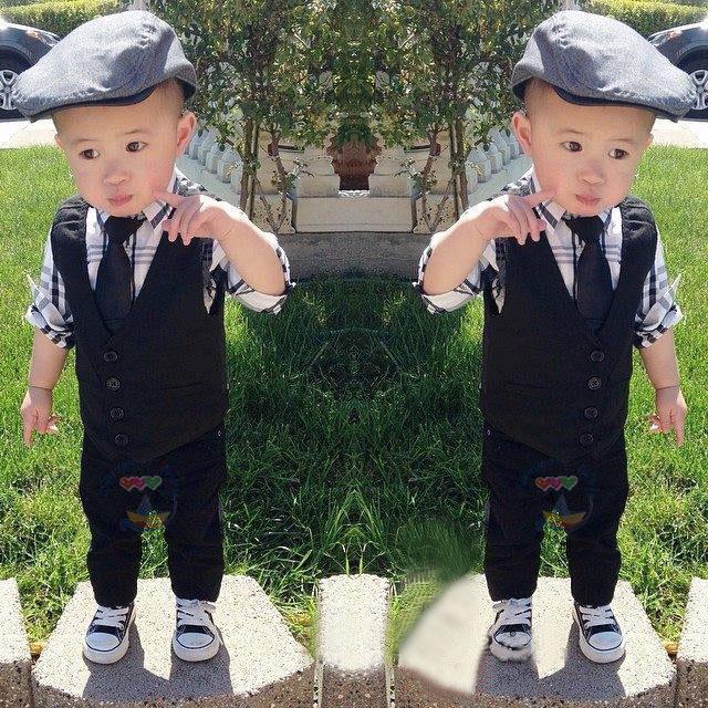 2015 new gentleman children clothing set boys clothes 4pcs suit long sleeve plaid shirt + vest + tie + pants boy clothing set(China (Mainland))