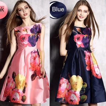 Новое поступление s-2xl рукавов линия платье женщины элегантный мода печать танк платье розовый и синий