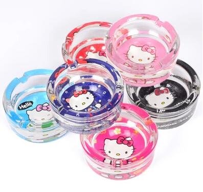 6 Colors Options Good Glasses Quality Kawaii Hello Kitty Car Ashtray Home Transparent Cinzeiro(China (Mainland))