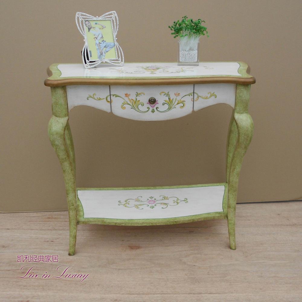 Factory direct American Pastoral corridor painted side table sofa table vestibule solid wood furniture(China (Mainland))