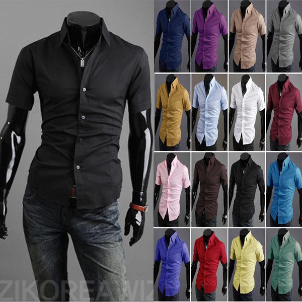 2015 nova verão Casual Mens camisas de vestido Slim Fit Camisa Masculina sociais homens de manga curta Camisa de cor sólida grátis frete(China (Mainland))