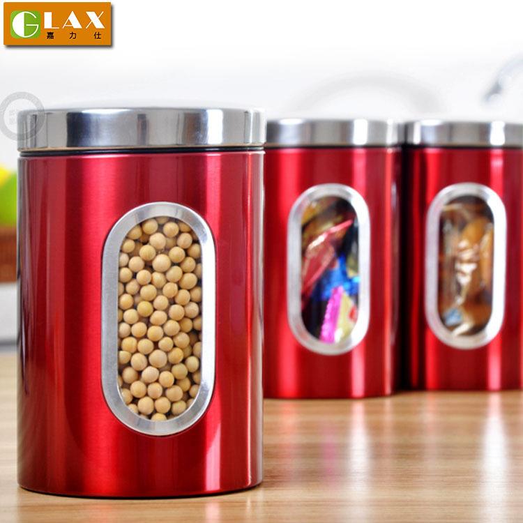 Recipiente de aço inoxidável café / chá / açúcar pode recipiente de alimento com janela vedação da tampa de garrafas pote de armazenamento(China (Mainland))