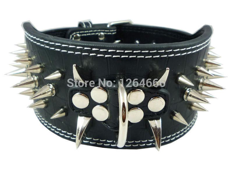 3inch wide spikes Pu leather dog collar for large dog Pitbull Doberman(China (Mainland))