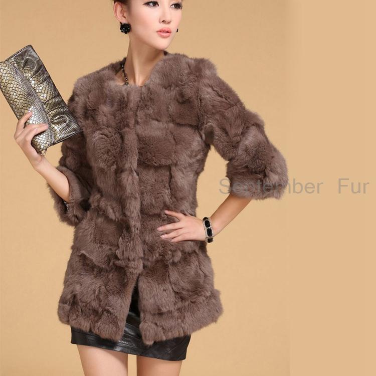 2015 genuine rabbit fur coat women natural rabbit fur jacket free shipping Customized big size china factory natural fur cloth(China (Mainland))