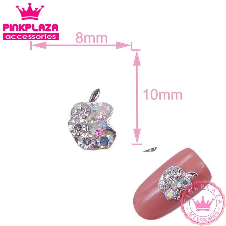 New Arrivals 20pcs Nail Art 8*10mm apple with shiny rhinestones Silver Zinc Alloy Nail polish Grade A Free shipping 337(China (Mainland))