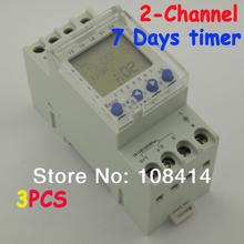 2 канала 7 дн. программируемый цифровой таймер 220 В время управления реле на DIN рейку, бесплатная доставка