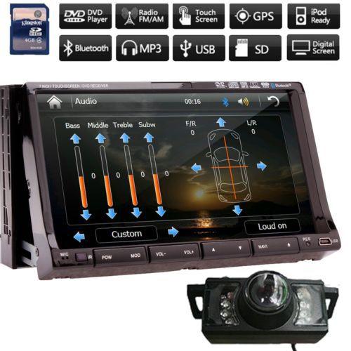 Rear Camera+GPS Map In-dash 2 Din GPS Navigation Car DVD Video Player Bluetooth Universal Car Stereo Radio USB/SD+Ipod+FM AM/RDS(China (Mainland))