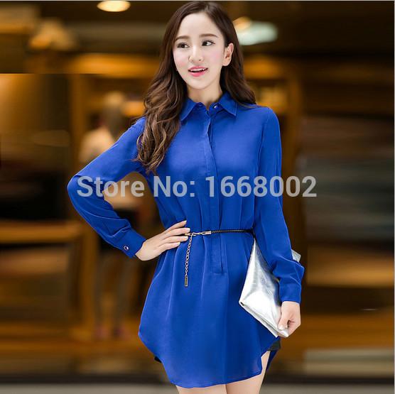 M-4XL Plus size 2015 summer Brand New Women Casual chiffon solid long sleeve Women Shirts Loose long Blouses Ladies' Shirt dress(China (Mainland))