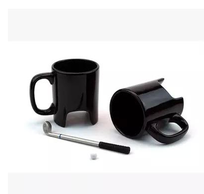 Novelty Gift Golf Set Design Ceramic Mug Caneca Coffee Cup Milk Tea Cup Creative With Spoon Golf Mugs(China (Mainland))