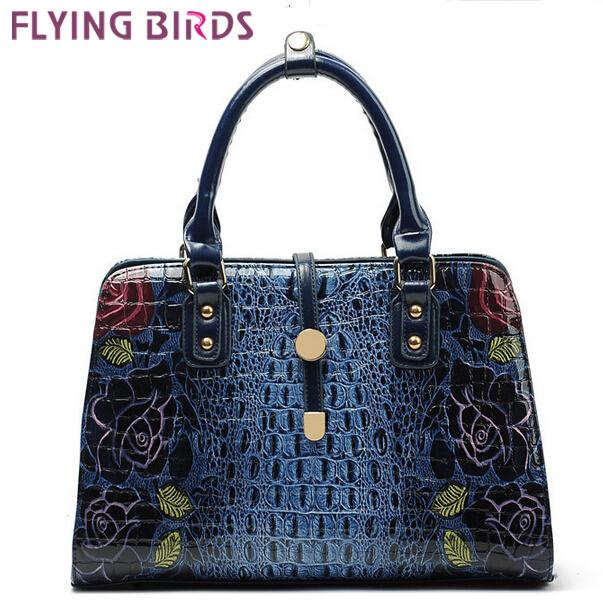 FLYING BIRDS! Floral Crocodile Women Leather Handbags fashion Women's Shoulder Bag Messenger Bags Bolsas free shipping LS5670(China (Mainland))