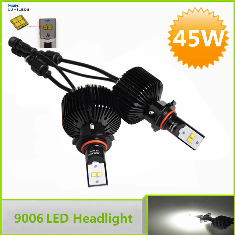 Brightest Automotive Bulbs White 45W 4500LM 9006 HB4 LED Headlight Kits for Car Replacement HID Lamp(China (Mainland))