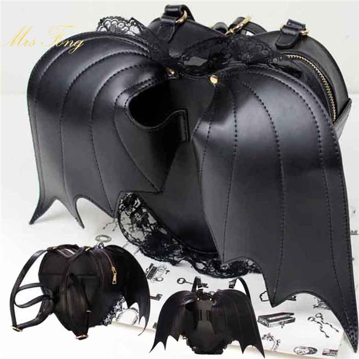 Bat Heart Backpack Punk Lace Black Bat Heart