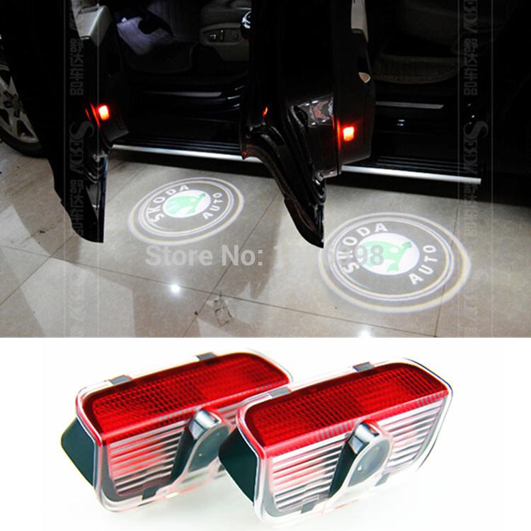 2 Laser LED Door Courtesy projector Shadow Light For Skoda Superb 2009-2014(China (Mainland))