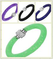 DGW Hot sale Stardust Mesh Bracelets With Crystal stones Filled Magnetic Clasp Charm Bracelets Bangles